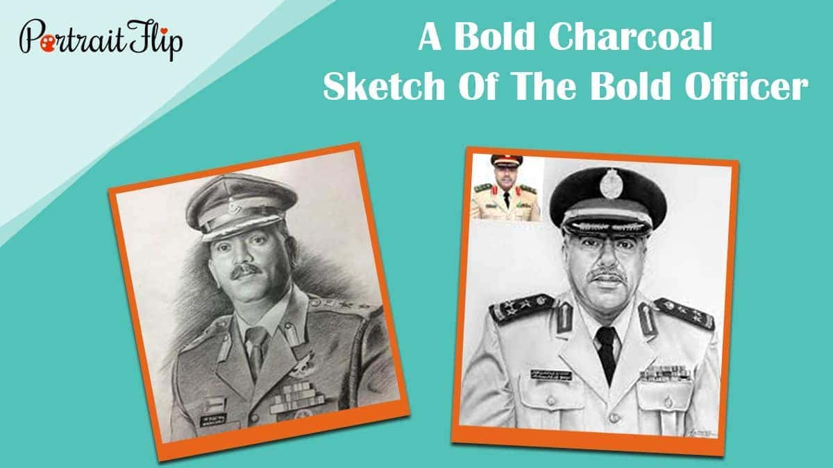 A bold charcoal sketch of the bold officer