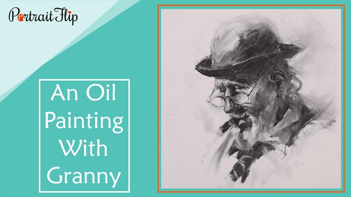 An oil painting with granny