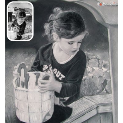 Baby black and white oil painting