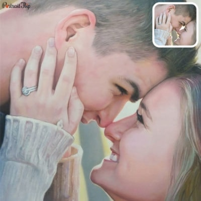 Couple oil portrait from picture