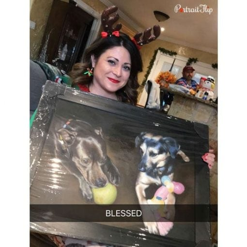 Happy customer with a oil pet painting
