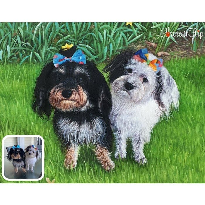 merged dogs oil painting
