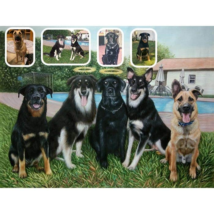 five dogs merge painting