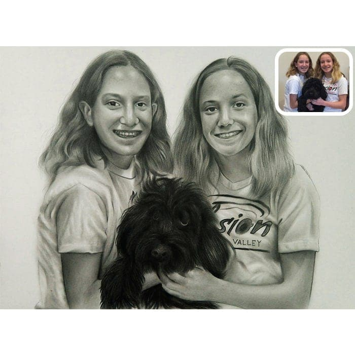 sisters with dog pencil sketch