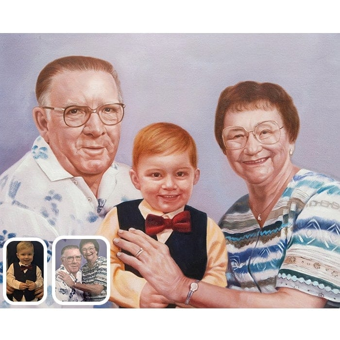 baby and grandparents oil painting