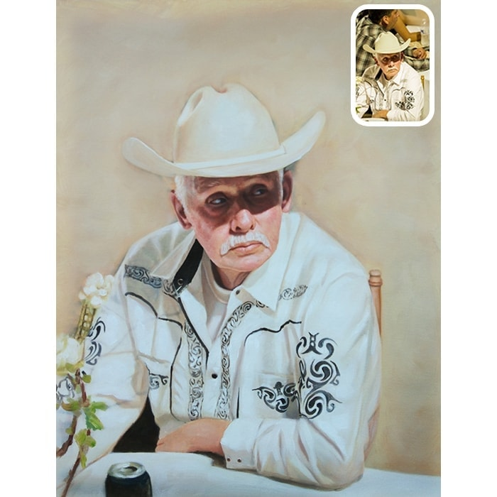 father oil painting