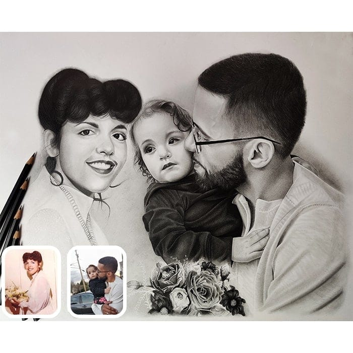 baby with parents charcoal drawing
