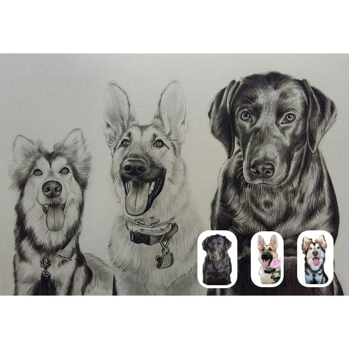 dogs merge charcoal painting