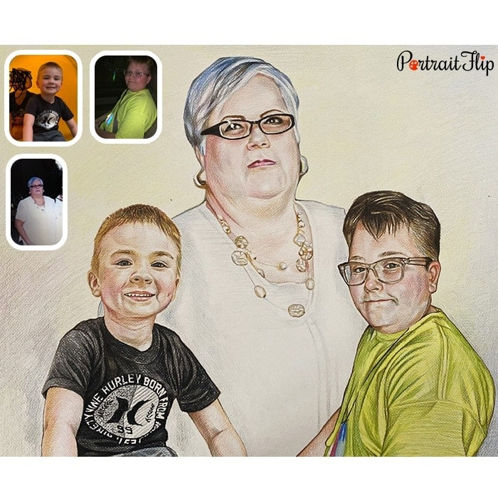 kids with mother drawing