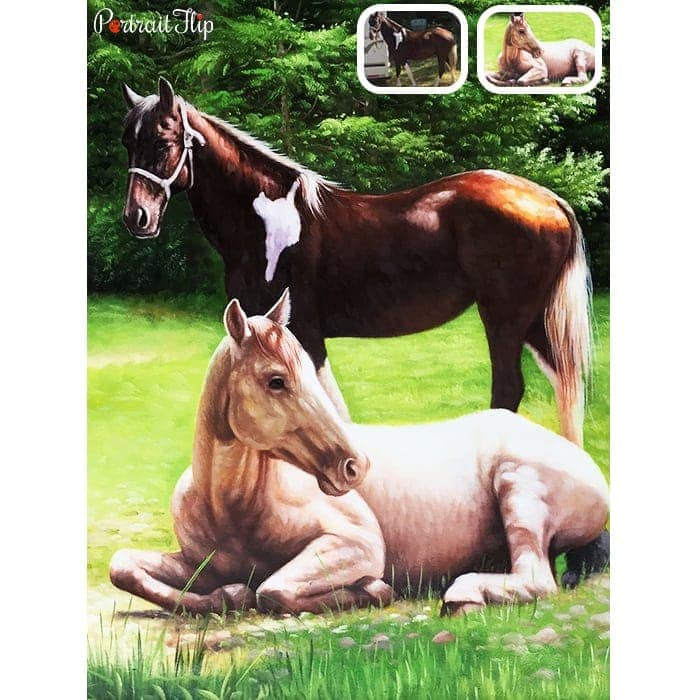 merged horse oil painting
