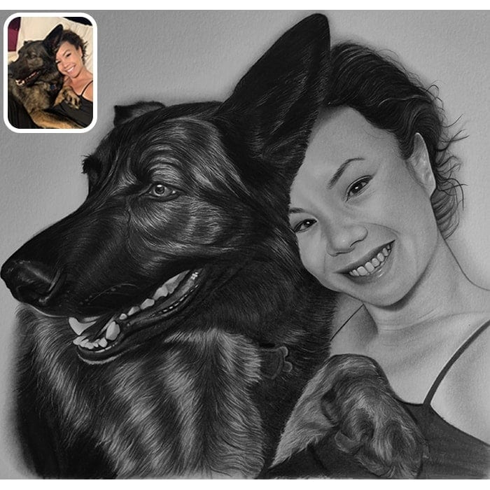 girl and dog pencil sketch