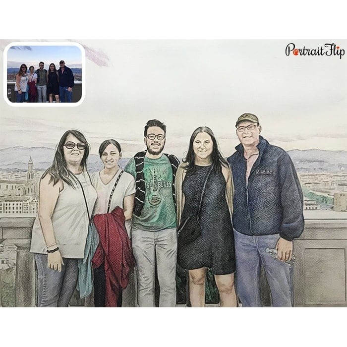 family colored pencil painting