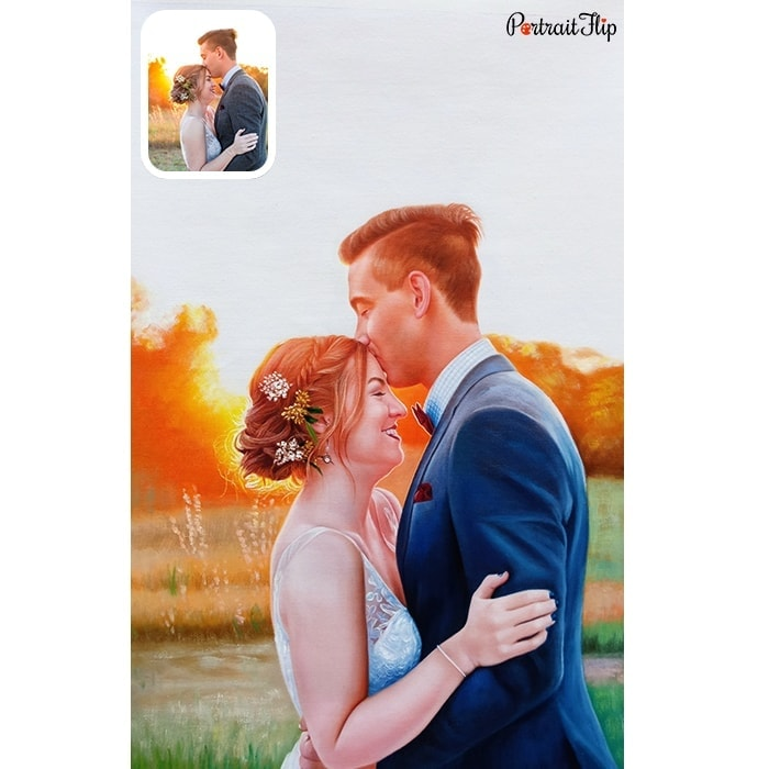 kissing couple painting