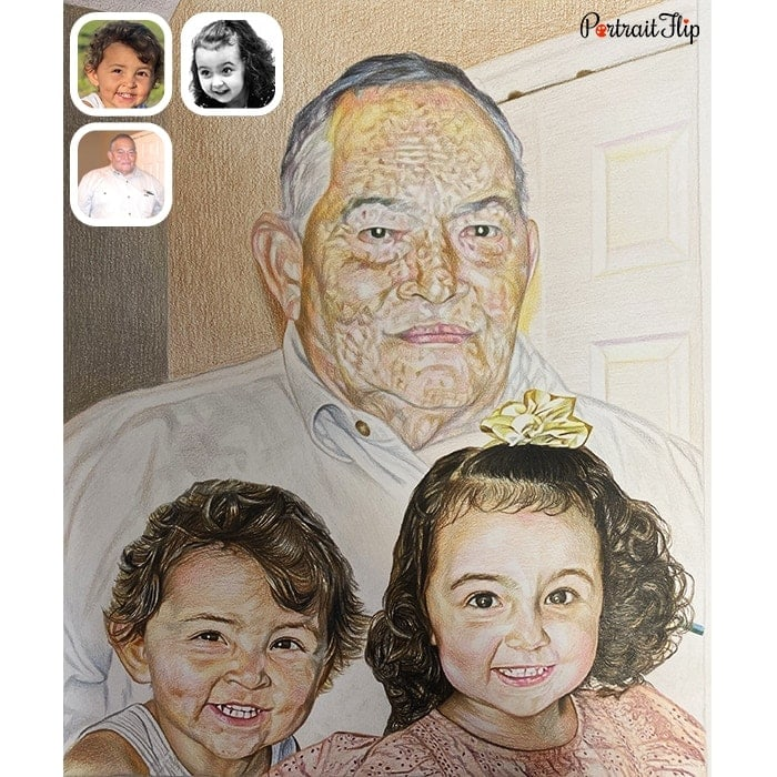 kids with father drawing