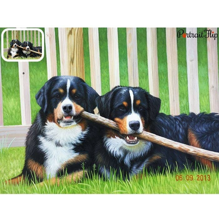 two dogs oil portrait painting
