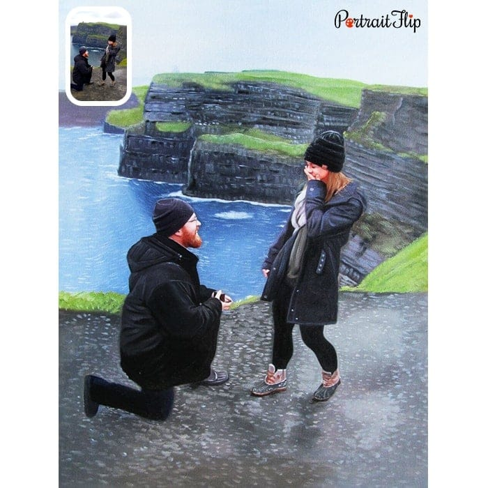 proposing couple oil drawing