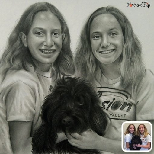 People & Pet Pencil Sketch From Photo