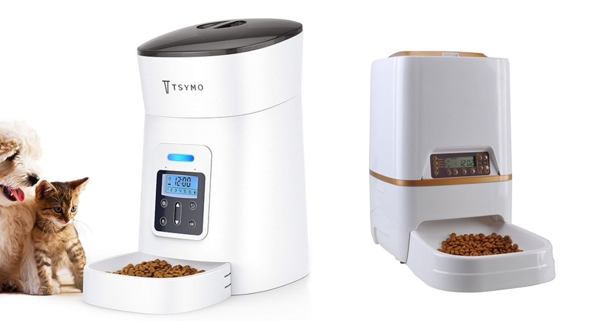 Automatic cat feeder with a cat and a dog on a white background