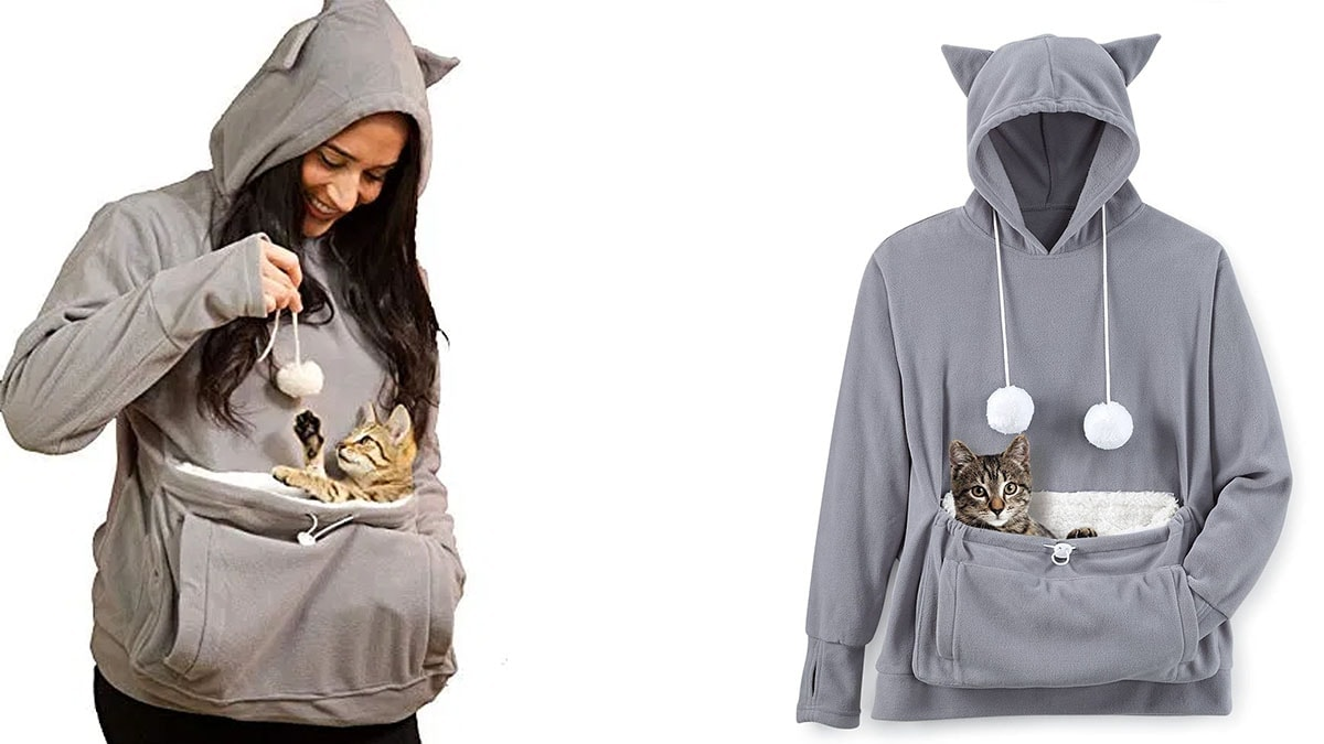 Cat pouch sweatshirt with a cat