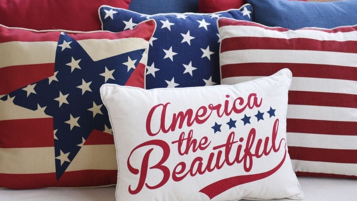 Red White Blue Patriotic Throw Pillow  Memorial Day Gifts PortraitFlip