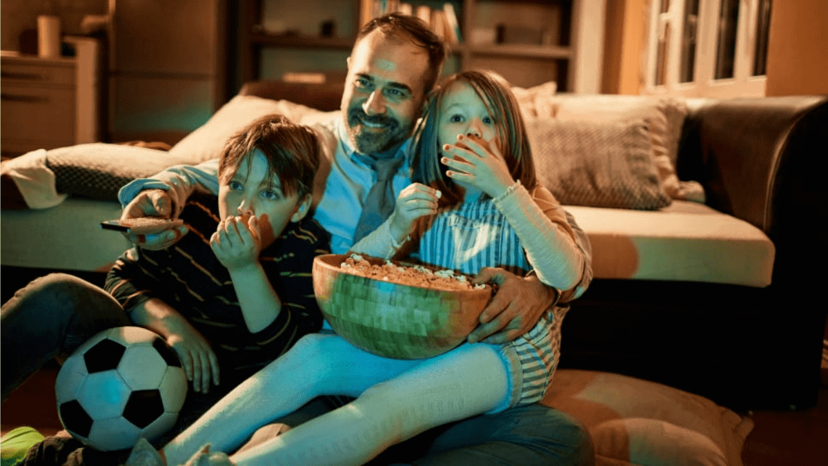 A Movie Night  Father and Kids