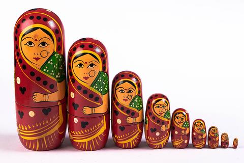 Hand painted wooden dolls